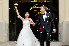 Just married couple under a rain of petals Royalty Free Stock Photos