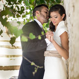 Just married couple in urban background Royalty Free Stock Photography