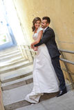 Just married couple in urban background Stock Photo