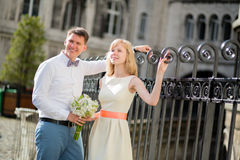 Just married couple walking on Montmarte in Paris Stock Photos