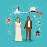 Just married couple with wedding attributes concept vector illustration. Stock Photos