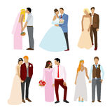 Just married couples in different poses and dress. Stock Image