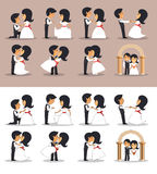 Just married couples in different poses. Vector illustration in flat style. Wedding couple silhouettes. Royalty Free Stock Image
