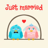 Just married. Cute birds - the bride and groom. greeting card. Stock Image