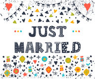 Just married. Cute greeting card with decorative elements.  Stock Photo