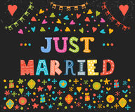 Just married. Cute greeting card with decorative elements Royalty Free Stock Photo