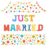 Just married. Cute greeting card Stock Photos