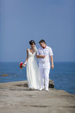 Just married in day of them wedding Royalty Free Stock Photography
