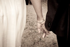 Just Married - Detail on hands Stock Photography