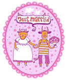 Just married. Devils bride and groom Stock Photo
