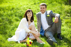 Just married in a flowering garden Royalty Free Stock Photo