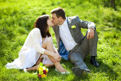 Just married in a flowering garden Stock Photo