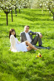 Just married in a flowering garden Stock Image