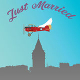 Just married fly. Just married travel aircraft istanbul galata tower Royalty Free Stock Photo
