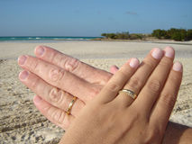 Just married. Gold rings in beach Stock Photography