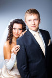 Just married groom and bride in studio Stock Images