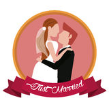 Just married groom carrying bride label. Illustration eps 10 Royalty Free Stock Photo