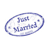 Just married grunge rubber stamp Royalty Free Stock Image