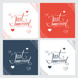 Just married hand lettering, handmade calligraphy. Stock Images
