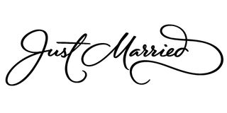 JUST MARRIED hand lettering (vector) Royalty Free Stock Photos