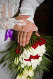 Just Married. Hands of newlyweds, rings and wedding union Stock Photography
