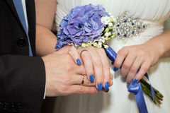 Just Married. Hands of newlyweds, rings and wedding union Royalty Free Stock Photos