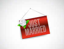 Just married hanging banner sign illustration Stock Image