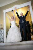 Just married and happy bride and groom Stock Images