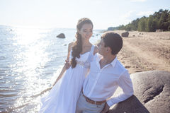 Just married happy bride and groom, young couple Stock Photos