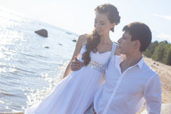 Just married happy bride and groom, young couple Stock Image