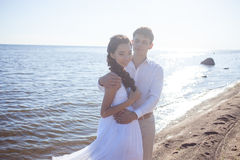 Just married happy bride and groom, young couple Royalty Free Stock Images
