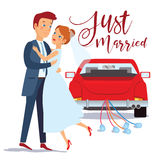 Just married happy couple bride and groom hugging each other, wedding card design, vector illustration. Just married car.  Royalty Free Stock Images