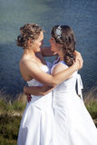 Just married happy lesbian couple in white dress near small lake. Just married happy lesbian couple in white dress look each other happily in the eyes near small royalty free stock images