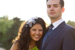 Just married happy young couple Stock Photo