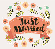 Just Married heart shaped typography lettering text heart card Royalty Free Stock Photography