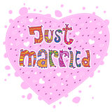 Just married and hearts Royalty Free Stock Photos