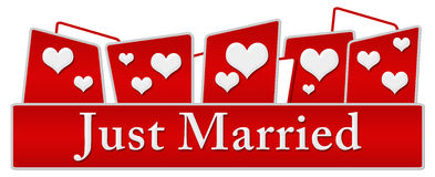 Just Married Hearts On Top Stock Images