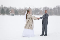 Just married holding hands on winter lake Royalty Free Stock Images