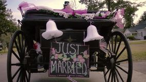 Just Married Horse Drawn Carriage from Behind Zooming Shot Slow Motion. Just Married Horse Drawn Carriage from Behind Zooming Shot Slow stock footage