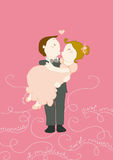 Just married in hug funny illustration. Just married funny kissing couple. Decorated background. Vector illustration Stock Photography