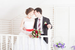 Just married. Husband and Wife on Wedding Day royalty free stock photo