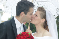 Just married kiss Stock Photos