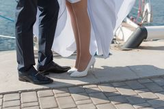 Just married kiss on quay Royalty Free Stock Photo