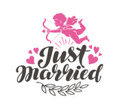 Just Married. Label with beautiful lettering, calligraphy. Vector illustration Royalty Free Stock Images