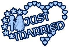 Just married label with hearts flowers and couple Stock Photo