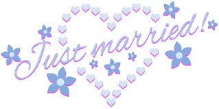 Just married label with hearts Royalty Free Stock Photo