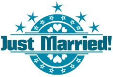 Just married label Royalty Free Stock Images