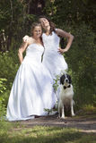 Just married lesbian pair with dog in forest Stock Photo