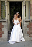 Just married lesbian pair on doorstep of old city hall Stock Image