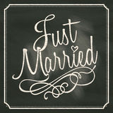 Just Married lettering sign on chalkboard background. Vector design Stock Image
